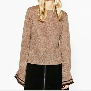 Zara Crop Sweater Linen Frilled Bell Wrist Sleeves